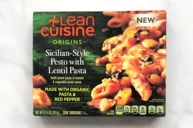 Lean Cuisine Origins Sicilian Pesto with Lentil Pasta is a frozen entree with plant protein mainly coming from organic lentil flour.