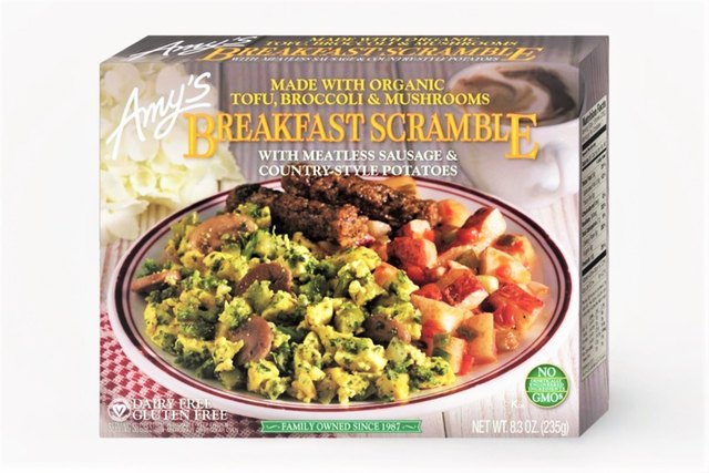 Amy's Breakfast Scramble is a frozen vegan breakfast meal that gets much of its plant protein from organic tofu.