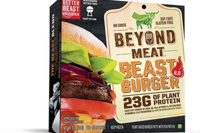Beyond Meat Beast Burger 2.0 is a frozen vegan burger patty with its plant protein coming mainly from pea protein isolate.