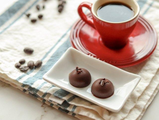 Mocha cacao nib coffee chocolate fat bombs made in silicone mold