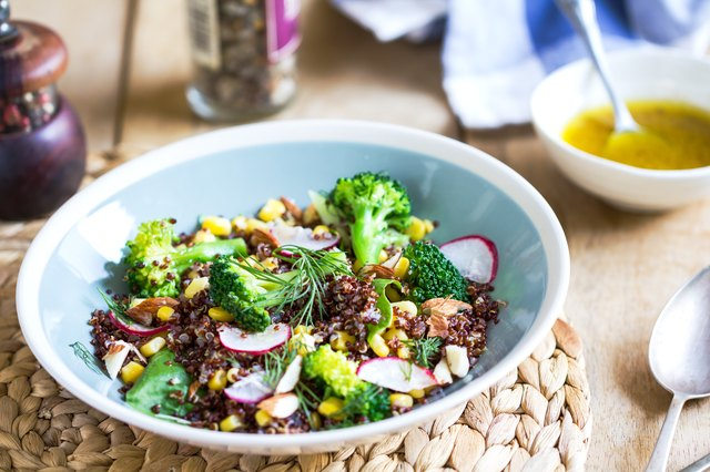 Red Quinoa with Sweet Corn and Broccoli salad by vinaigrette