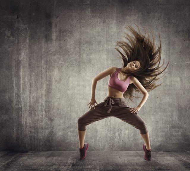 Fitness Sport Dance, Woman Dancer Flying Hair Dancing on Concrete