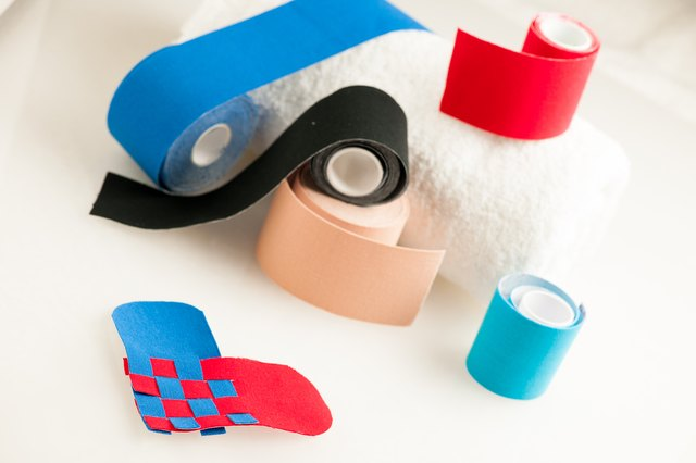This kind of taping is called 'Kinesiotape'