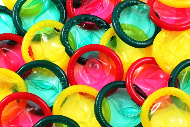 Colored Condoms Close Up