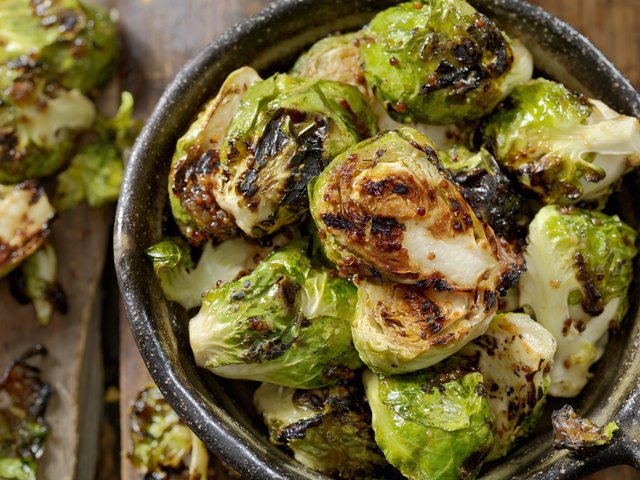 BBQ Brussels Sprouts with Grainy Mustard, Honey Glaze