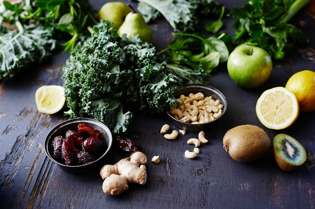 Ingredients for kale and kiwi fruit green smoothie, close-up