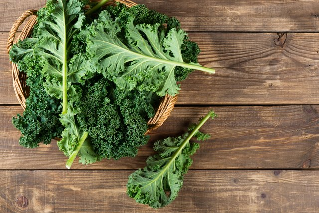 Leaves of  raw kale, above view.