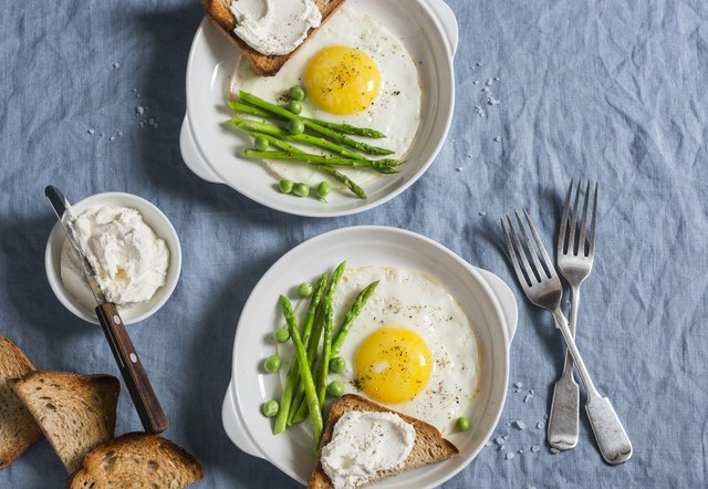 Delicious breakfast - fried egg, asparagus and cheese sandwich. On a blue background, top view