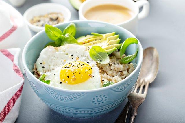 Savory oatmeal with egg and avocado