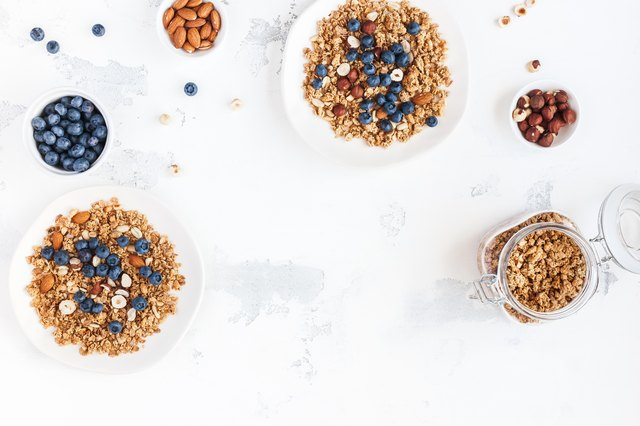 Breakfast with muesli, blueberry, nuts. Flat lay, top view