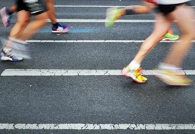 People running in a road race