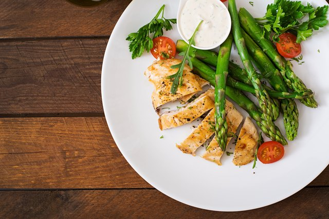 Sesame-Crusted Chicken Breast With Pasta and Asparagus