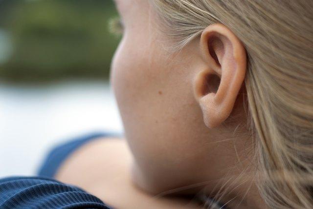close up of female ear
