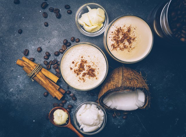 Ketogenic diet concept. Ketogenic latte with coconut oil. High fat diet