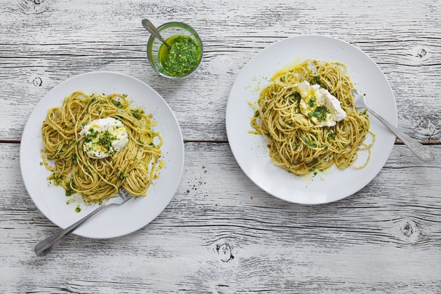 Spaghetti with cavolo nero pesto and goat curd