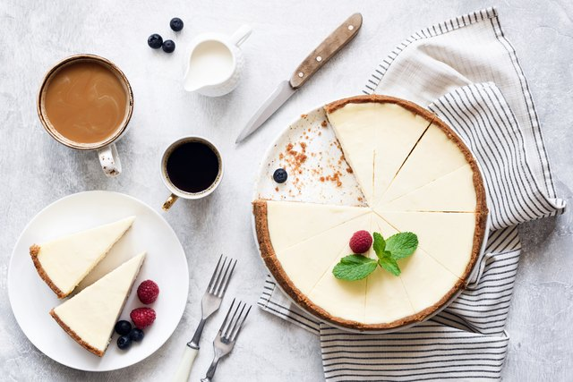 Classic New York Cheesecake And Coffee, Top View