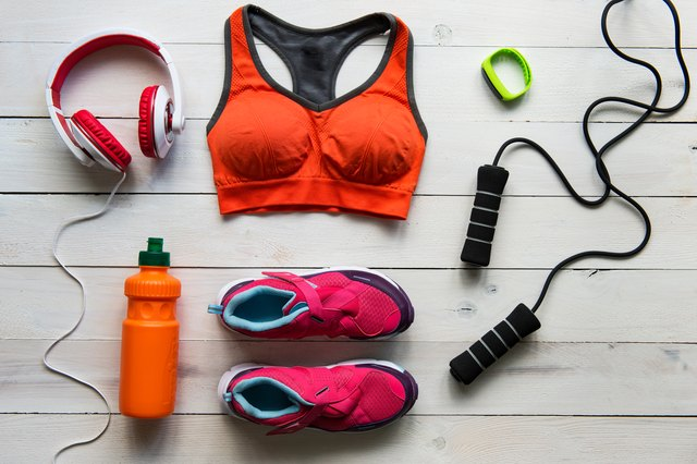 High Angle View Of Sports Equipment On Table
