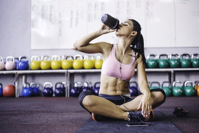 Sip of fresh water after great workout