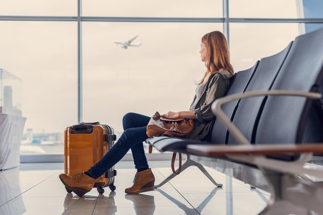 Woman waiting for boarding