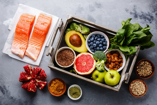 Healthy food clean eating selection in wooden box