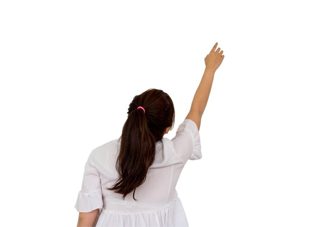 Girl making hand reaching over head, isolated on white background, clipping path