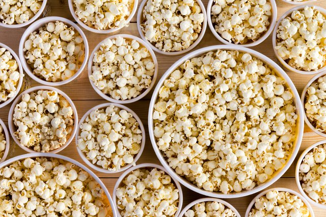 Buckets full of freshly made popcorn for everyone
