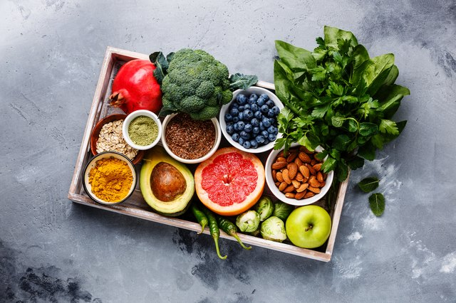 Healthy folic acid superfood clean eating selection in wooden box