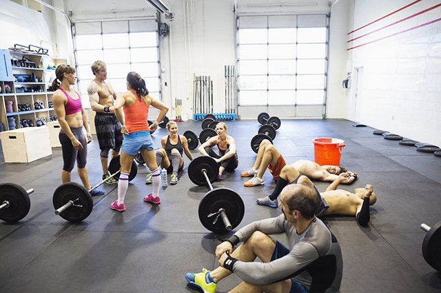 People getting ready for a CrossFit class