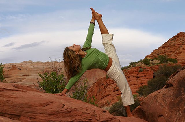Woman in Side Plank Pose during yoga