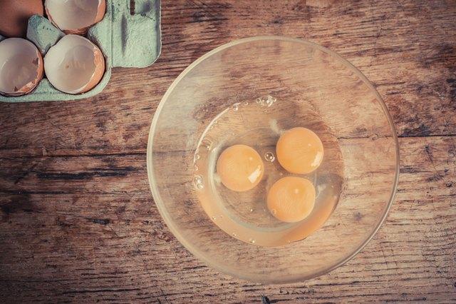 Three raw eggs