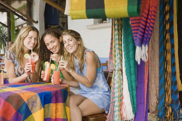 Women having drinks at outdoor cafe