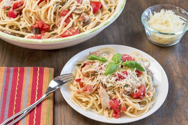 Chicken, tomato and basil linguine
