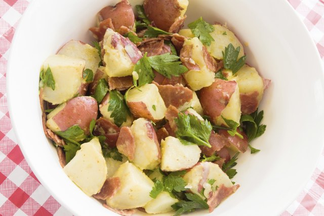 potato salad made with new red potatoes and turkey bacon