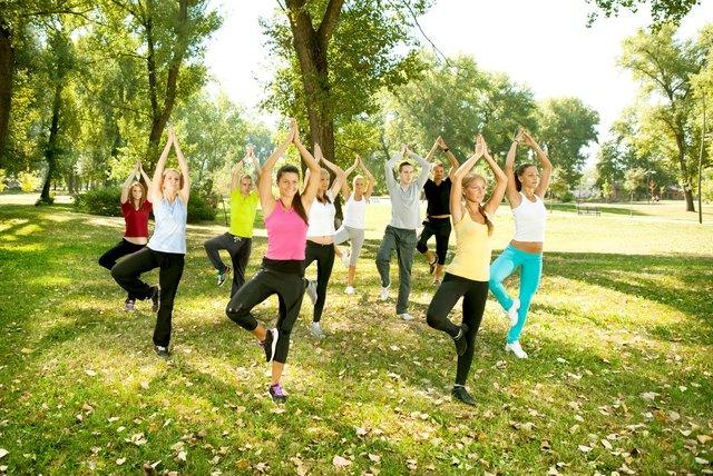 yoga group, tree position,