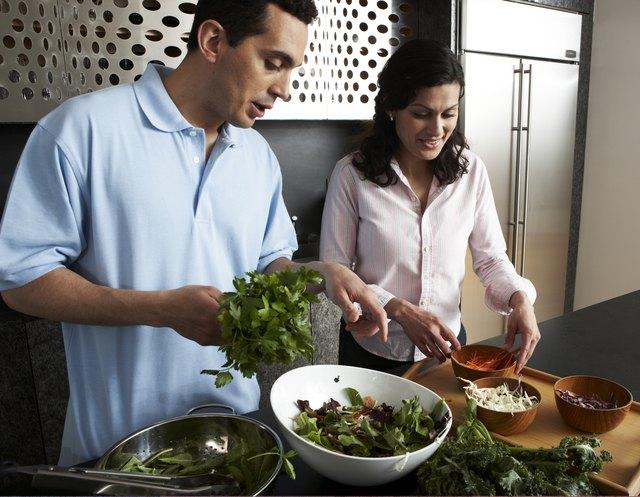 Preparing food in modern kitchen