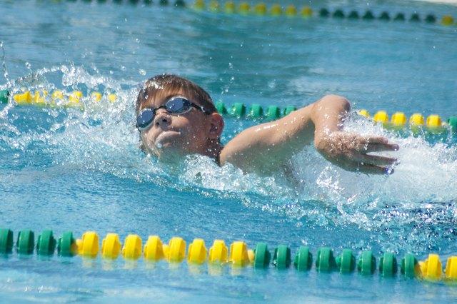 Boy in a swimming race