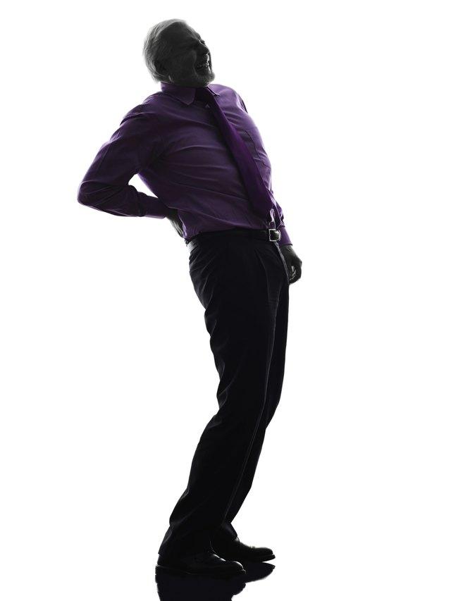senior business man backache pain silhouette