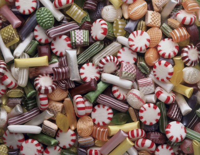 High angle view of assorted candies