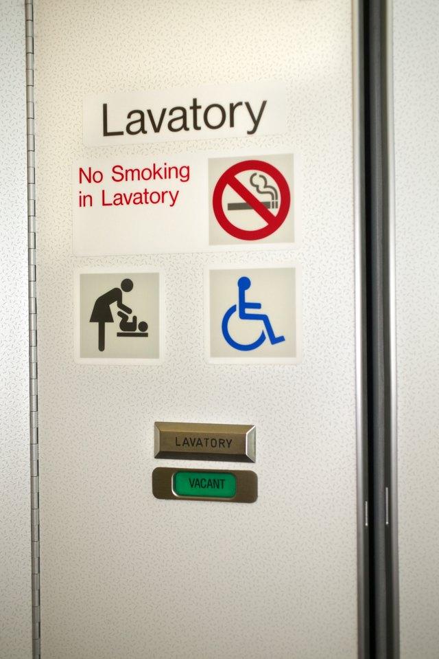 Bathroom door on airplane