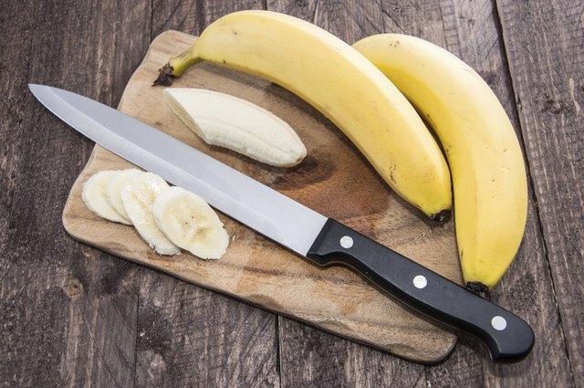 Chopped Banana on a cutting board