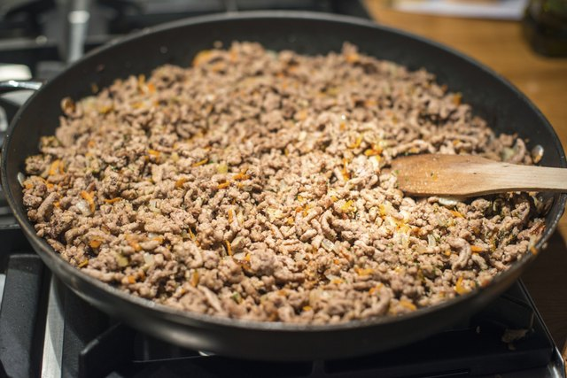 Minced meat in frying pan