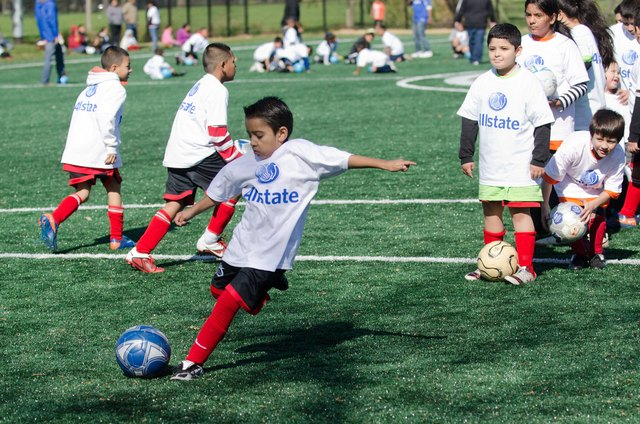 Allstate And Chicago Mayor Dedicate New Soccer Field At Humboldt Park