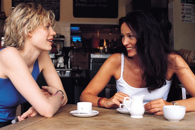 Two women sitting together in a coffee shop