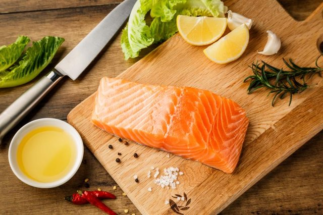 Salmon fish on cutting board