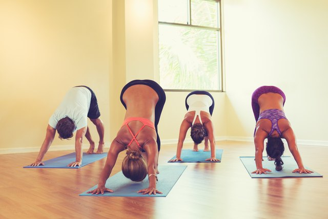 People Practicing Downward Dog Pose in Yoga Class