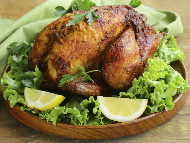 roasted chicken with herbs served on a plate