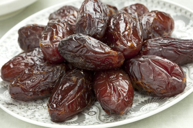 Dish with preserved Medjool dates