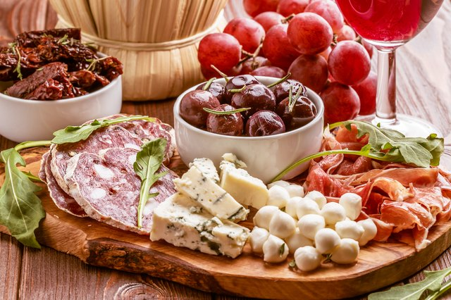 Wine snack set. Variety of cheese and meat.