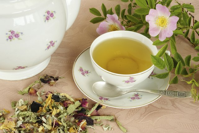 Herbal tea with roses