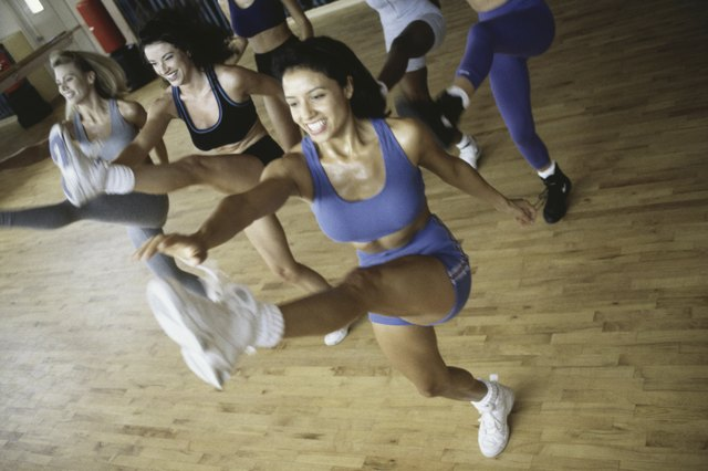 High angle view of a group of young women exercising in an aerobics class